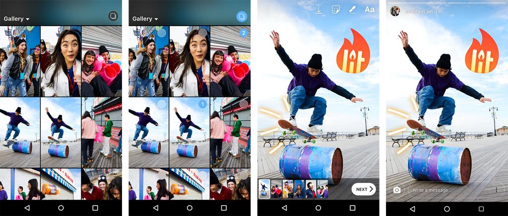 Как загрузить сразу несколько фото в instagram stories