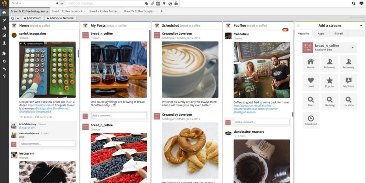 Hootsuite позволяет генерацию постов и их последующую одновременную публикацию в соцсетях